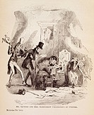 Mr. and Mrs. Squeers and Miss Sliderskew unaware of visitors, scene from the novel Nicholas Nickleby, by Charles Dickens (1812-1870), illustration by ...