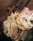 Portrait of Eleonora Duse (Vigevano 1858 - Pittsburgh 1924), Italian actress. Painting by Giovanni Boldini (1842-1931).  Private Collection