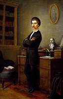 Portrait of Sandor Petofi (Kiskoros, 1823 - Segesvar, 1849), Hungarian poet and patriot. Painting by Soma Orlai Petrics (1822-1880), 1861.  Budapest, ...