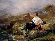 Lord Byron 1788_1824 on shore of Hellenic sea, by Giacomo Trecourt 1812_1882, oil on canvas, 153x114.5 cm, circa 1850