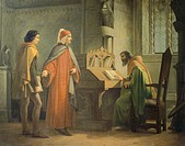 Dante (1265-1321) presenting Giotto (1266-1337) to Guido da Polenta (died 1310), by Giovanni Mochi (1829-1892), oil on board, 108x84.5 cm. 19th centur...