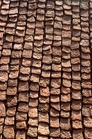 Aerial view of roof made by slate ; village house at Otur ; Taluka Junnar ; District Pune ; Maharashtra ; India