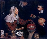 Old woman frying eggs, 1618, by Diego Velazquez (1599-1660), oil on canvas, 100x119 cm.  Edinburgh, National Gallery Of Scotland