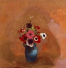 Anemones in blue vase, by Odilon Redon 1840_1916, pastel on paper