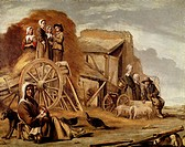 The Cart or Return from Haymaking, 1641, by Louis Le Nain (1593-1648) or Antoine Le Nain (1599-1648), oil on canvas, 56x72 cm.  Paris, Musée Du Louvre