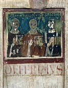 St Jerome, St Augustine and St Gregory the Great, right section of the consular diptych of Manlius Boetius, liturgical miniature, ca 7th century, by a...