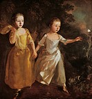 The painter's daughters chasing a butterfly, by Thomas Gainsborough (1727-1788), oil on canvas.  London, National Gallery
