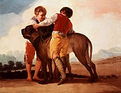 Boys with mastiff, by Francisco de Goya (1746-1828).  Madrid, Museo Del Prado
