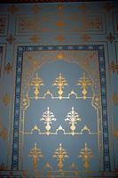 Gold painting inside Rampuria Haveli hotel ; Bhanwar Niwas ; Bikaner ; Rajasthan ; India
