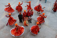 Men performing barmeri gair dance ; Jodhpur ; Rajasthan ; India