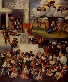 Massacre of the Innocents, 1520-1525, by Ludovico Mazzolino (ca 1480-ca 1530), panel, 135x112 cm.  Rome, Galleria Doria Pamphilj (Art Gallery)