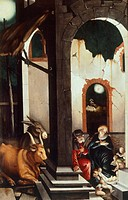 Nativity, 1520, by Hans Baldung (1484-1485 - 1545), panel, 105.5 x 70.4 cm.  Vienna, Kunsthistorisches Museum (Museum Of Fine Arts)