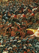 Opposing armies, detail from the The Battle of Alexander at Issus, 1529, by Albrecht Altdorfer (1480-1538), table of linden wood, 158.4x120.3 cm.  Mon...