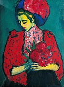 Girl with Peonies, 1909, by Alexei Jawlensky (1864-1941), oil on cardboard transferred onto panel, 101x75 cm.  Wuppertal, Von Der Heydt-Museum (Art Mu...