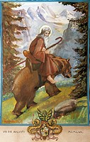 St Romedius on the back of the bear, by Luigi Motta, watercolor. Shrine of St Romedius, Sanzeno, Italy.