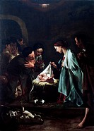 Adoration of the shepherds, by Federico Bencovich (1677-1753), oil on panel, 233x166 cm. Detail.  Verona, Castelvecchio (Art Museum)
