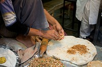 Stuffed parathas being prepared , Chandni Chowk , Old Delhi , India