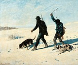 Poachers in the snow, 1867, by Gustave Courbet (1819-1877).  Rome, Galleria Nazionale D'Arte Moderna (National Gallery Of Modern Art)