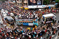 Twenty 20 team wave tri color Indian flags in special decorated bus during victory procession ; Bombay Mumbai; Maharashtra; India