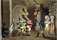 Visiting the Catacombs in Paris, engraving from Life in Paris by David Carey, 1822, France 19th Century.  Paris, Bibliothèque Des Arts Decoratifs (Lib...