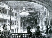 Concert in a cafe on Boulevard Bonne Nouvelle in Paris, ca. 1840, France 19th century. Engraving.  Paris, Bibliothèque Des Arts Decoratifs (Library)