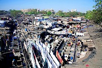Dhobi Ghat ; open laundry run by Mumbai Municipal Corporation Washer men ; Mahalakshmi ; Bombay now Mumbai ; Maharashtra ; India