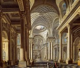 Interior of the La Madeleine Church, as designed by Contant d'Ivry, by Pierre Antoine de Machy (1723-1807).  Paris, Hôtel Carnavalet (Art Museum), Cab...