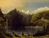 Landscape with Mountains and Lake, by George Heriot (1759-1839).  La Rochelle, Musée Du Nouveau Monde (History Museum)