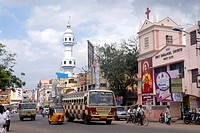 Mosque and holy Emmanuel church ; Madurai ; Tamil Nadu ; India