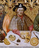 The Last Supper, by Jaime Ferrer the Elder (active 1400-1433). Detail.  Solsona, Museo Diocesano Y Comarcal (Diocesan And Regional Museum)