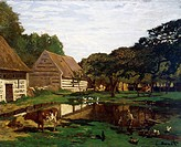Backyard of a farm in Normandy, 1863, by Claude Monet (1840-1926).  Paris, Musée D'Orsay (Art Gallery)