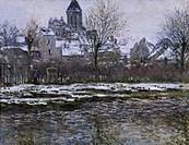 Snow at Vetheuil, 1878-1879, by Claude Monet (1840-1926), oil on canvas, 52x71 cm.  Paris, Musée D'Orsay (Art Gallery)