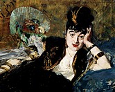Lady with fan (Portrait of Marie-Anne de Callias, known as Nina de Callias), 1873-1874, by Edouard Manet (1832-1883), oil on canvas. Detail.  Paris, M...