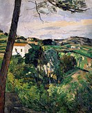 Landscape with red roof or The pine at the Estaque, 1876, by Paul Cezanne (1839-1906).  Paris, Musée National De L'Orangerie (Art Museum)