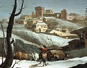 Landscape with snow, by Andrea Urbani (1711-1798), oil on panel, 49x66 cm. Detail.  Pavia, Musei Civici Del Castello Visconteo, Pinacoteca Malaspina (...