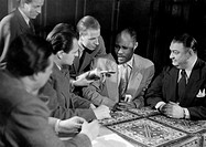 Roland, Juergen, 25.12.1925 _ 21.9.2007, German journalist and director, at the signing of the contract between boxers Gene Tiger Jones and Hein ten H...