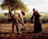 The potato planters, 1861, by Jean-Francois Millet (1814-1875), oil on canvas, 82x101 cm.  Boston, Museum Of Fine Arts