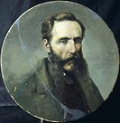 Self_portrait, by Achille Farina 1804_1879, round tiled