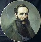 Self-portrait, by Achille Farina (1804-1879), round tiled.  Faenza, Museo Internazionale Delle Ceramiche In Faenza (Pottery Museum)