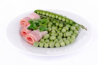 Fresh peas and ham rolls.