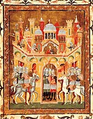Frederick II's crusader soldiers at the gates of Jerusalem, 1229, miniature taken from Descriptio Terrae Sanctae by Burcardus Theutonicus or Burchard ...