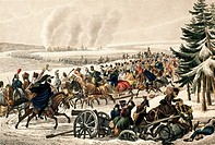Retreat of French army over Beresina river, November 26, 1812, by Franz Edler von Habermann born 1788, engraving by Johann Adam Klein 1792_1875, Napol...
