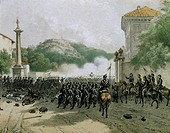 Garibaldi's troops during the Battle of Varese, May 25, 1859. Second War of Independence, Italy, 19th century.  Brescia, Museo Civico Del Risorgimento...