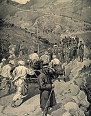 The Japanese army stationed at Ping-Yang sending detachments across the massifs between Ping-Yang and Andjou, 1904-1905, engraving from Le Monde Illus...