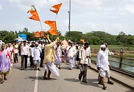 Group of village people on pilgrimage of vari ; procession from Alandi to Pandharpur in Maharashtra ; India