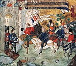 Joan of Arc entering the castle of Loches to announce the liberation of Orleans to Charles VII, French miniatures. France, 15th century.  Orleans, Cen...