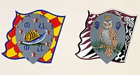 Coats of arms for the Palio of Siena for the Chiocciola (Snail) nobile (noble) contrade and Civetta (Little Owl) nobile (noble) contrade. Heraldry, It...