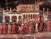 Caterina Cornaro procession in Piazza San Marco, Venice, 1489, 1515. Italian, 16th century.  Venice, Palazzo Ducale (Doges' Palace)