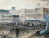 Louis XVI passing in front of the Louvre on his arrival in Paris, July 17, 1789, gouache by Jean-Pierre Houel (1753-1813). French Revolution, France, ...