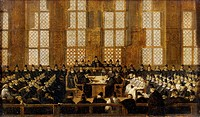Council of Magistrates, painting by Nicolas Wleughels (1668-1737). France, 17th century.  Versailles, Château De Versailles